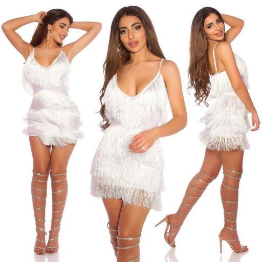 Vestido de flecos con escote blanco [0]