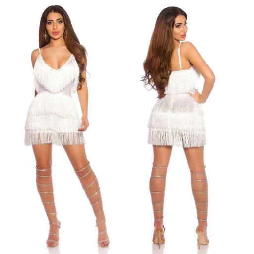 Vestido de flecos con escote blanco [1]