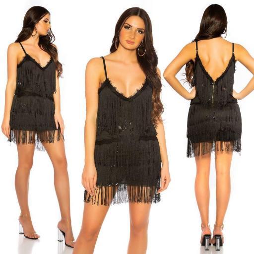 Vestido de flecos y lentejuelas negro [0]