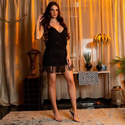 Vestido de flecos y lentejuelas negro [1]
