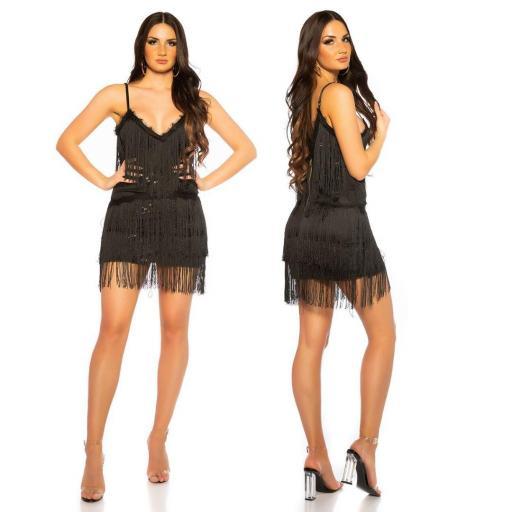 Vestido de flecos y lentejuelas negro [2]