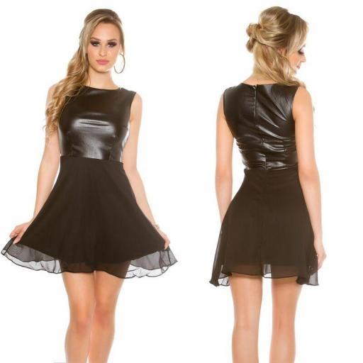 Vestido corto gasa y cuero negro