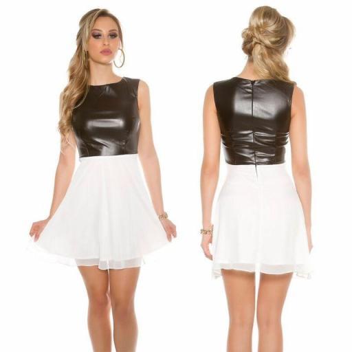 Vestido corto gasa y cuero blanco