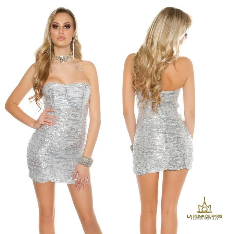 Vestido corto de lentejuelas plateadas