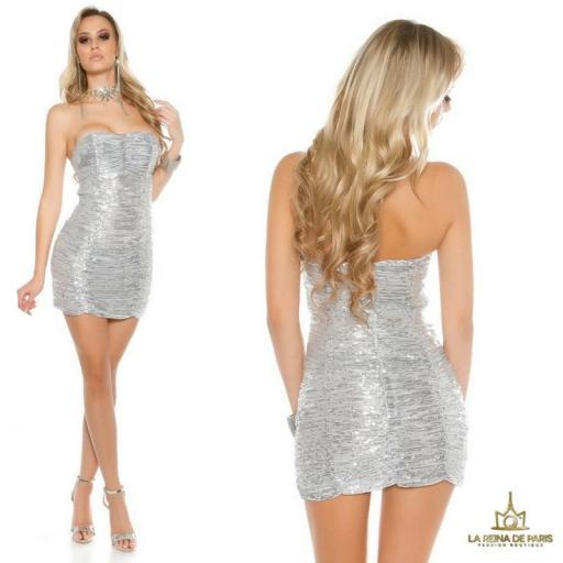 Vestido corto de lentejuelas plateadas  [3]