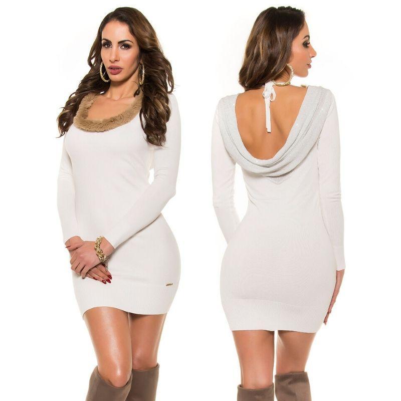Vestido de punto espalda sexy blanco