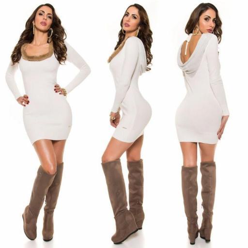 Vestido de punto espalda sexy blanco [1]
