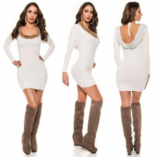 Vestido de punto espalda sexy blanco [2]