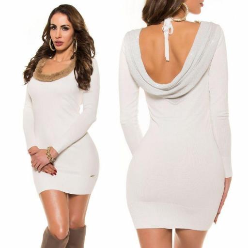Vestido de punto espalda sexy blanco [3]