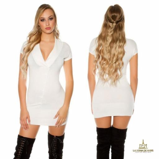 Vestido corto de punto blanco Trendy [0]