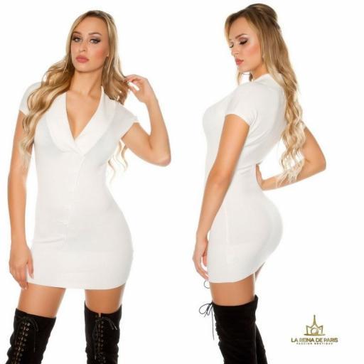 Vestido corto de punto blanco Trendy [2]