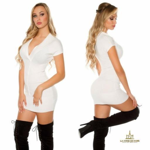 Vestido corto de punto blanco Trendy [1]