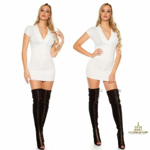 Vestido corto de punto blanco Trendy [3]
