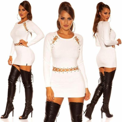 Vestido corto de punto blanco cordones