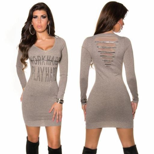 Vestido de punto con brechas gris pardo