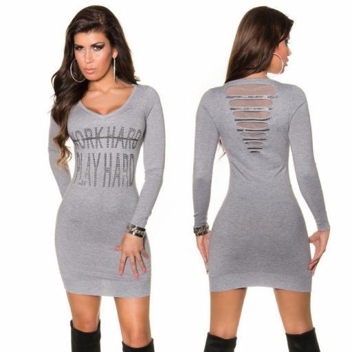 Vestido de punto con brechas gris