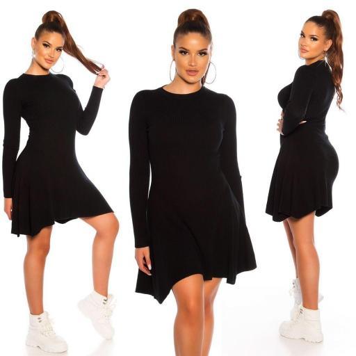 Vestido de punto acanalado negro