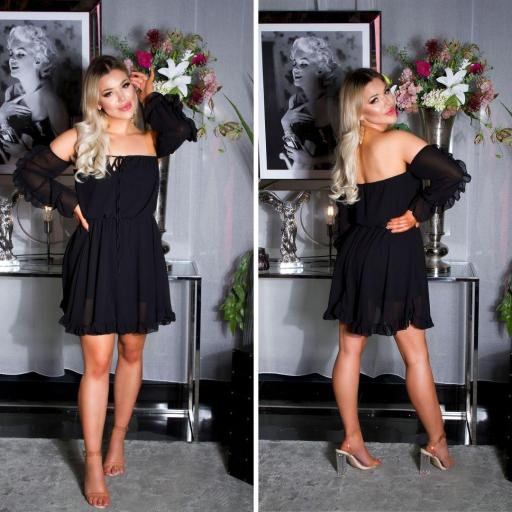 Vestido corto babydoll negro