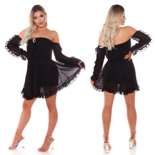 Vestido corto babydoll negro [3]