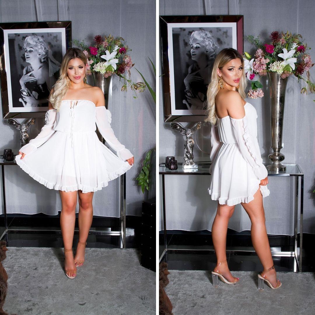 Vestido corto babydoll blanco