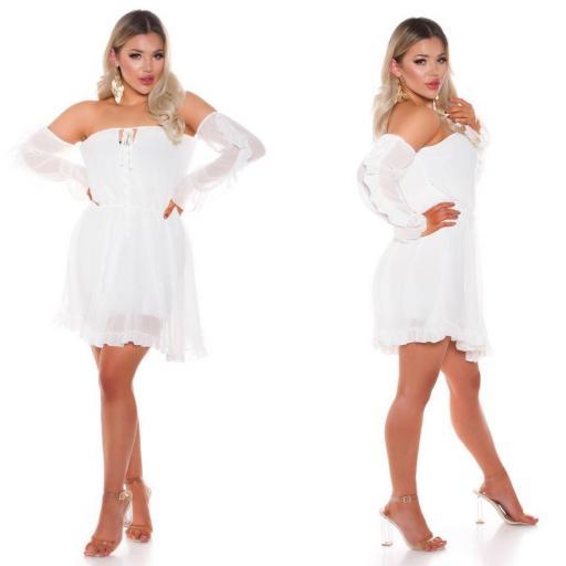 Vestido corto babydoll blanco [1]