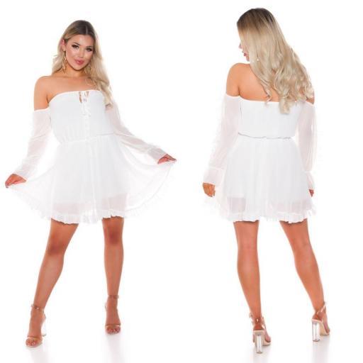 Vestido corto babydoll blanco [3]