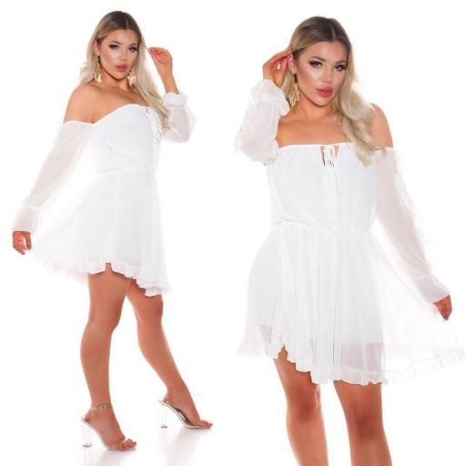 Vestido corto babydoll blanco [2]