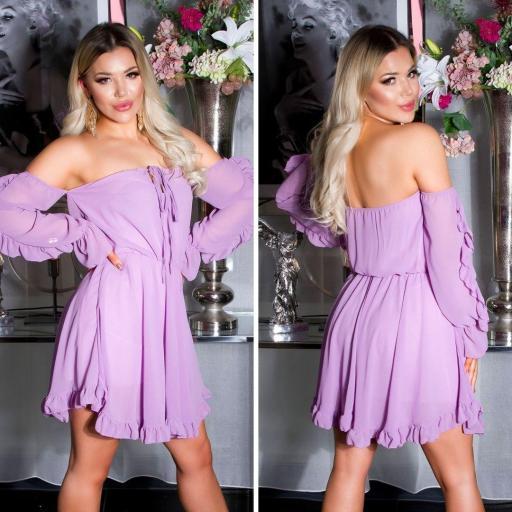 Vestido corto babydoll lila