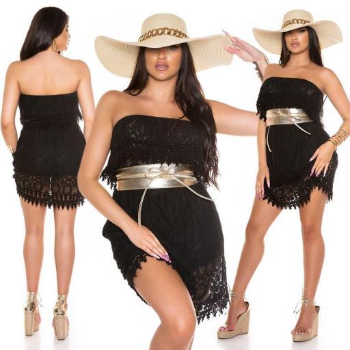 Vestido de encaje de verano negro