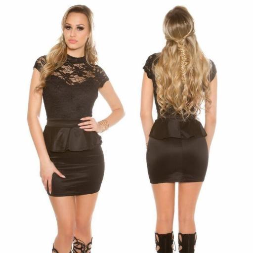 Vestido corto negro peplum con encaje