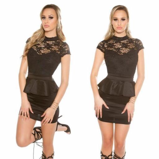Vestido corto negro peplum con encaje [2]