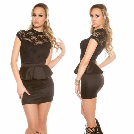 Vestido corto negro peplum con encaje [3]