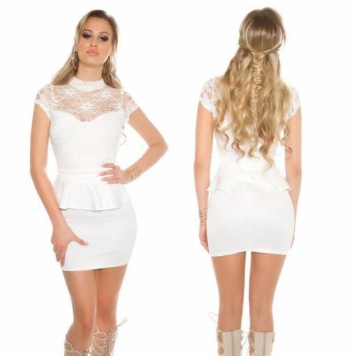 Vestido corto blanco peplum con encaje