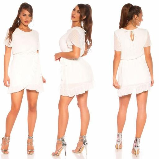 Vestido corto entrecruzado blanco