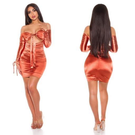 Vestido bronce satinado fruncido  [1]