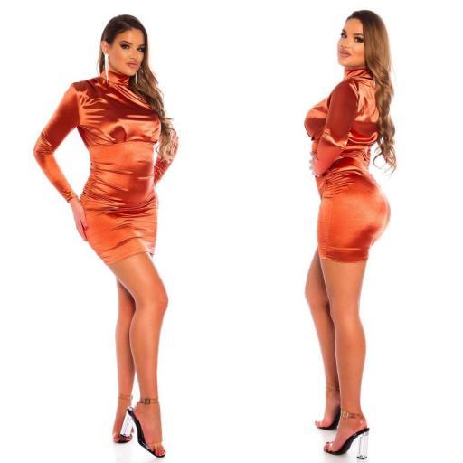 Vestido fruncido satinado bronce [3]