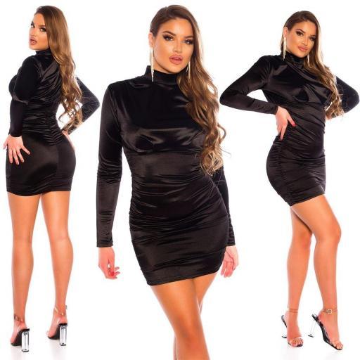 Vestido fruncido satinado negro