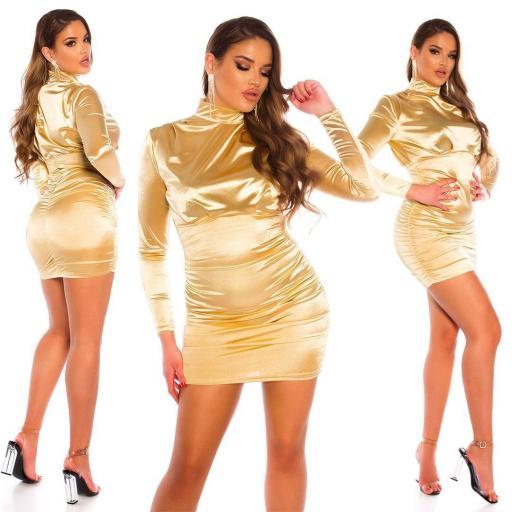 Vestido fruncido satinado oro