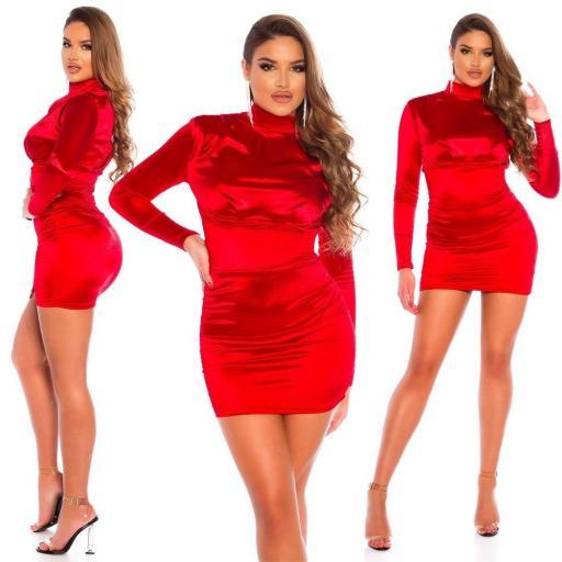 Vestido fruncido satinado rojo