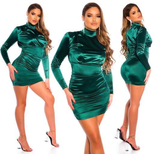 Vestido fruncido satinado verde