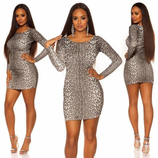 Vestido ajustado leopardo gris