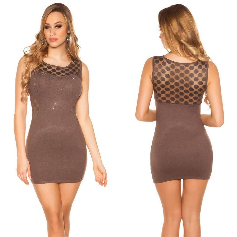 Vestido marcatipazo punto fino marrón