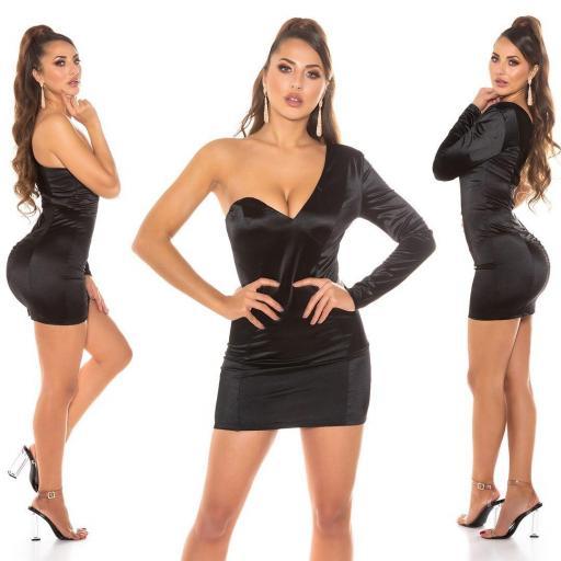 Vestido negro satinado de moda
