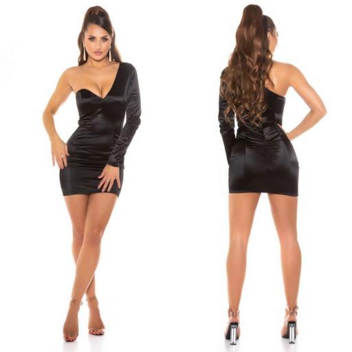Vestido negro satinado de moda  [1]