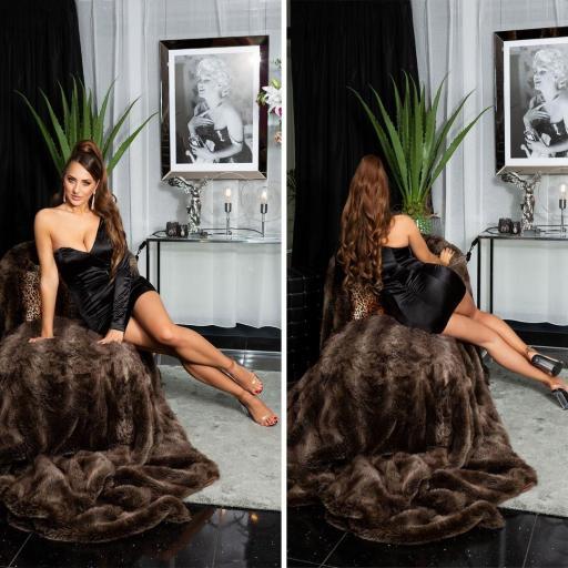 Vestido negro satinado de moda  [2]