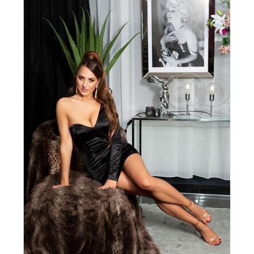 Vestido negro satinado de moda  [3]