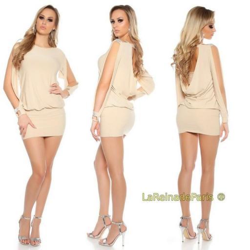 Vestido beige pegadito atractivo look [0]