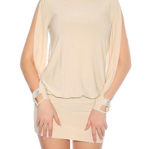 Vestido beige pegadito atractivo look [1]