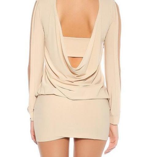 Vestido beige pegadito atractivo look [2]