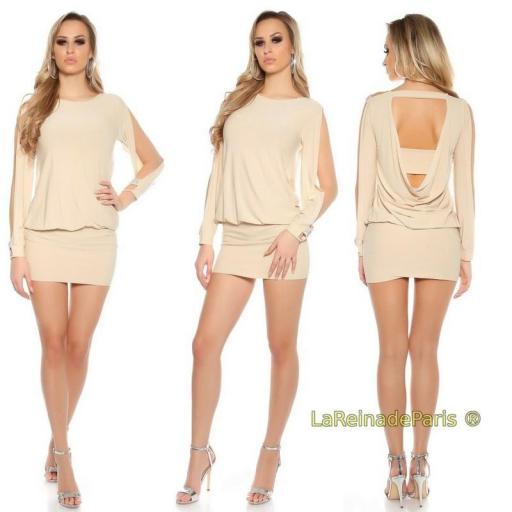 Vestido beige pegadito atractivo look [3]